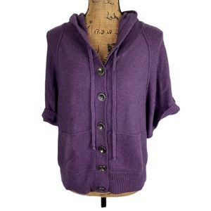 Sonoma Button Front Short Sleeve Hooded Cardigan